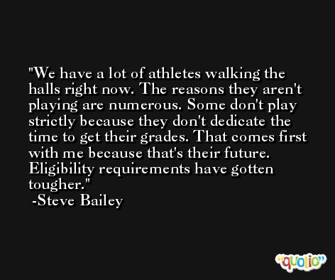 We have a lot of athletes walking the halls right now. The reasons they aren't playing are numerous. Some don't play strictly because they don't dedicate the time to get their grades. That comes first with me because that's their future. Eligibility requirements have gotten tougher. -Steve Bailey