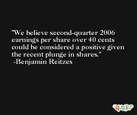 We believe second-quarter 2006 earnings per share over 40 cents could be considered a positive given the recent plunge in shares. -Benjamin Reitzes