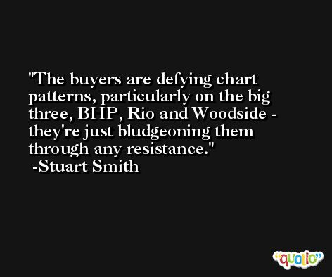 The buyers are defying chart patterns, particularly on the big three, BHP, Rio and Woodside - they're just bludgeoning them through any resistance. -Stuart Smith