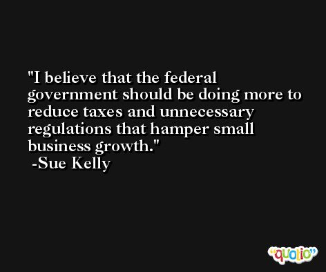 I believe that the federal government should be doing more to reduce taxes and unnecessary regulations that hamper small business growth. -Sue Kelly