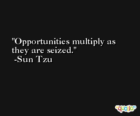 Opportunities multiply as they are seized. -Sun Tzu
