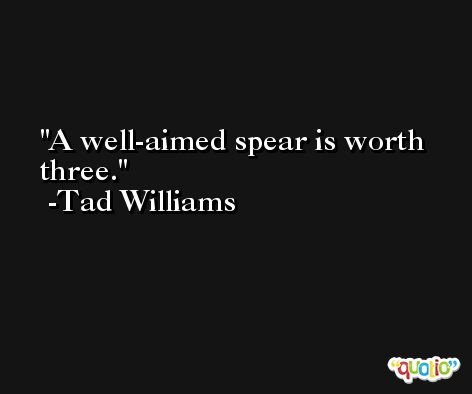 A well-aimed spear is worth three. -Tad Williams