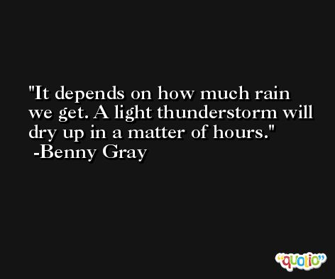 It depends on how much rain we get. A light thunderstorm will dry up in a matter of hours. -Benny Gray