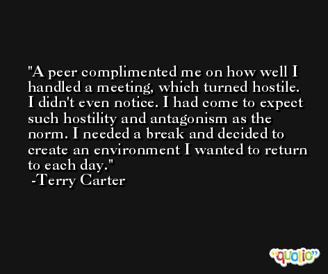 A peer complimented me on how well I handled a meeting, which turned hostile. I didn't even notice. I had come to expect such hostility and antagonism as the norm. I needed a break and decided to create an environment I wanted to return to each day. -Terry Carter