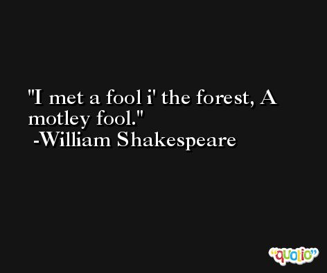 I met a fool i' the forest, A motley fool. -William Shakespeare