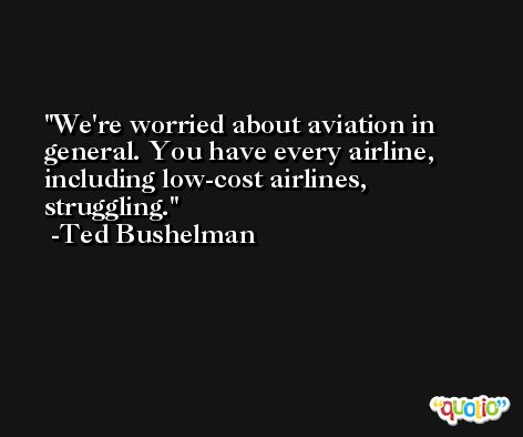 We're worried about aviation in general. You have every airline, including low-cost airlines, struggling. -Ted Bushelman