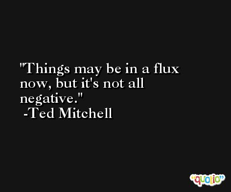 Things may be in a flux now, but it's not all negative. -Ted Mitchell