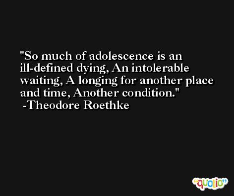 So much of adolescence is an ill-defined dying, An intolerable waiting, A longing for another place and time, Another condition. -Theodore Roethke