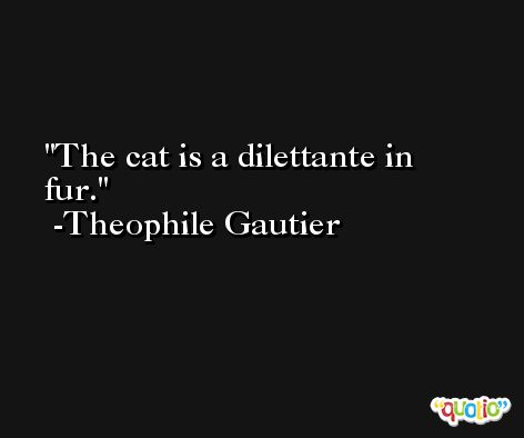 The cat is a dilettante in fur. -Theophile Gautier