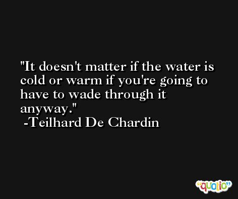 It doesn't matter if the water is cold or warm if you're going to have to wade through it anyway. -Teilhard De Chardin