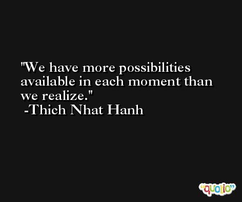 We have more possibilities available in each moment than we realize. -Thich Nhat Hanh