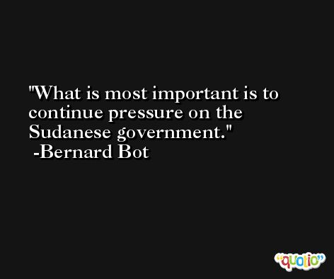 What is most important is to continue pressure on the Sudanese government. -Bernard Bot