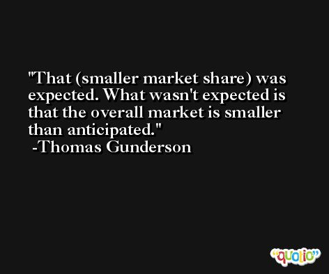 That (smaller market share) was expected. What wasn't expected is that the overall market is smaller than anticipated. -Thomas Gunderson