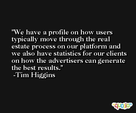 We have a profile on how users typically move through the real estate process on our platform and we also have statistics for our clients on how the advertisers can generate the best results. -Tim Higgins