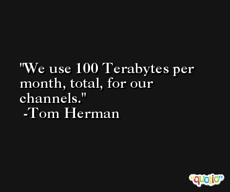 We use 100 Terabytes per month, total, for our channels. -Tom Herman