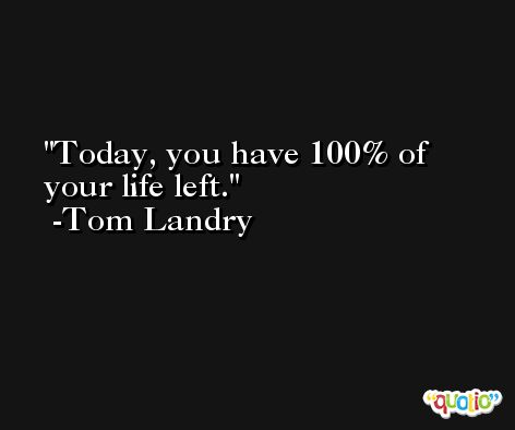 Today, you have 100% of your life left. -Tom Landry