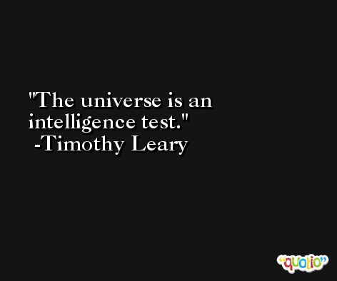 The universe is an intelligence test. -Timothy Leary