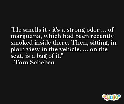 He smells it - it's a strong odor ... of marijuana, which had been recently smoked inside there. Then, sitting, in plain view in the vehicle, ... on the seat, is a bag of it. -Tom Scheben