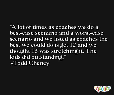 A lot of times as coaches we do a best-case scenario and a worst-case scenario and we listed as coaches the best we could do is get 12 and we thought 13 was stretching it. The kids did outstanding. -Todd Cheney