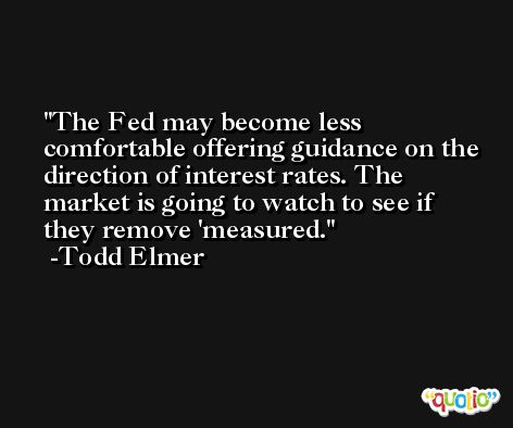 The Fed may become less comfortable offering guidance on the direction of interest rates. The market is going to watch to see if they remove 'measured. -Todd Elmer