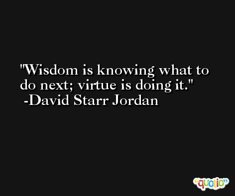 Wisdom is knowing what to do next; virtue is doing it. -David Starr Jordan