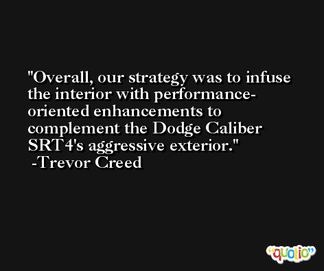 Overall, our strategy was to infuse the interior with performance- oriented enhancements to complement the Dodge Caliber SRT4's aggressive exterior. -Trevor Creed