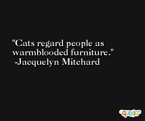 Cats regard people as warmblooded furniture. -Jacquelyn Mitchard