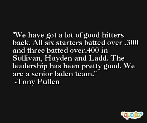 We have got a lot of good hitters back. All six starters batted over .300 and three batted over.400 in Sullivan, Hayden and Ladd. The leadership has been pretty good. We are a senior laden team. -Tony Pullen