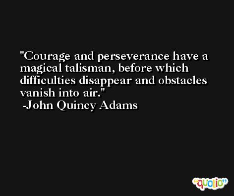 Courage and perseverance have a magical talisman, before which difficulties disappear and obstacles vanish into air. -John Quincy Adams