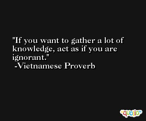 If you want to gather a lot of knowledge, act as if you are ignorant. -Vietnamese Proverb
