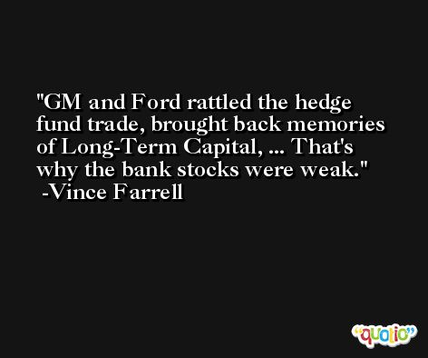 GM and Ford rattled the hedge fund trade, brought back memories of Long-Term Capital, ... That's why the bank stocks were weak. -Vince Farrell