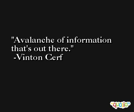 Avalanche of information that's out there. -Vinton Cerf