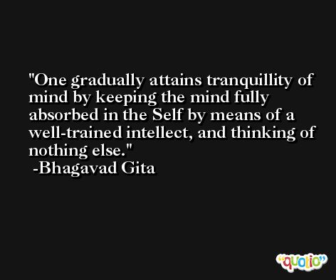 One gradually attains tranquillity of mind by keeping the mind fully absorbed in the Self by means of a well-trained intellect, and thinking of nothing else. -Bhagavad Gita