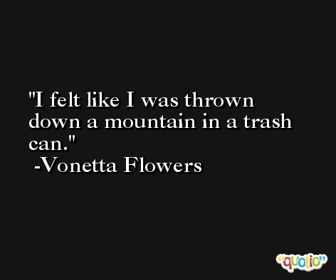 I felt like I was thrown down a mountain in a trash can. -Vonetta Flowers