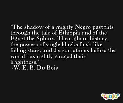 The shadow of a mighty Negro past flits through the tale of Ethiopia and of the Egypt the Sphinx. Throughout history, the powers of single blacks flash like falling stars, and die sometimes before the world has rightly gauged their brightness. -W. E. B. Du Bois
