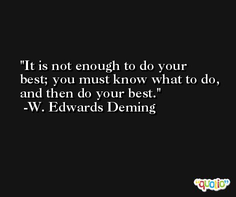 It is not enough to do your best; you must know what to do, and then do your best. -W. Edwards Deming