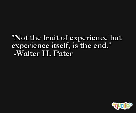 Not the fruit of experience but experience itself, is the end. -Walter H. Pater
