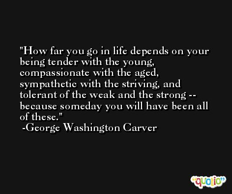 How far you go in life depends on your being tender with the young, compassionate with the aged, sympathetic with the striving, and tolerant of the weak and the strong -- because someday you will have been all of these. -George Washington Carver