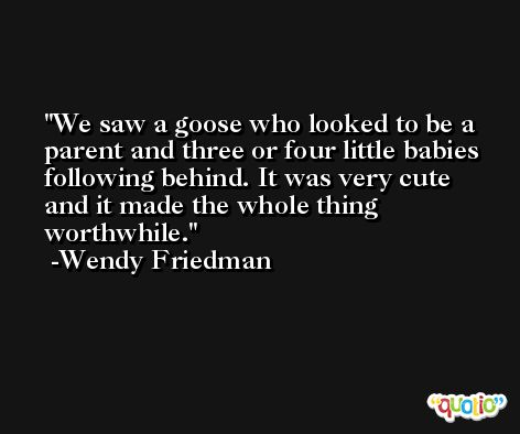 We saw a goose who looked to be a parent and three or four little babies following behind. It was very cute and it made the whole thing worthwhile. -Wendy Friedman