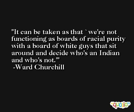 It can be taken as that `we're not functioning as boards of racial purity with a board of white guys that sit around and decide who's an Indian and who's not.' -Ward Churchill