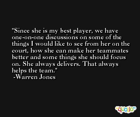 Since she is my best player, we have one-on-one discussions on some of the things I would like to see from her on the court, how she can make her teammates better and some things she should focus on. She always delivers. That always helps the team. -Warren Jones