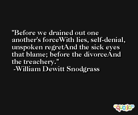 Before we drained out one another's forceWith lies, self-denial, unspoken regretAnd the sick eyes that blame; before the divorceAnd the treachery. -William Dewitt Snodgrass