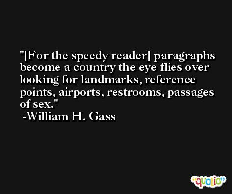 [For the speedy reader] paragraphs become a country the eye flies over looking for landmarks, reference points, airports, restrooms, passages of sex. -William H. Gass