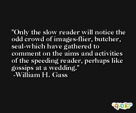Only the slow reader will notice the odd crowd of images-flier, butcher, seal-which have gathered to comment on the aims and activities of the speeding reader, perhaps like gossips at a wedding. -William H. Gass