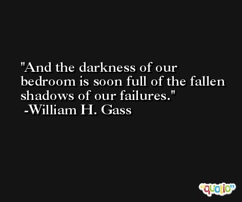 And the darkness of our bedroom is soon full of the fallen shadows of our failures. -William H. Gass