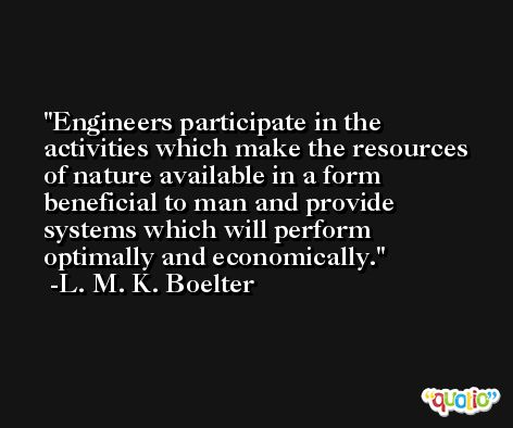 Engineers participate in the activities which make the resources of nature available in a form beneficial to man and provide systems which will perform optimally and economically. -L. M. K. Boelter