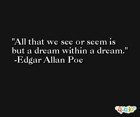 All that we see or seem is but a dream within a dream. -Edgar Allan Poe