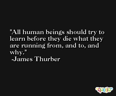 All human beings should try to learn before they die what they are running from, and to, and why. -James Thurber