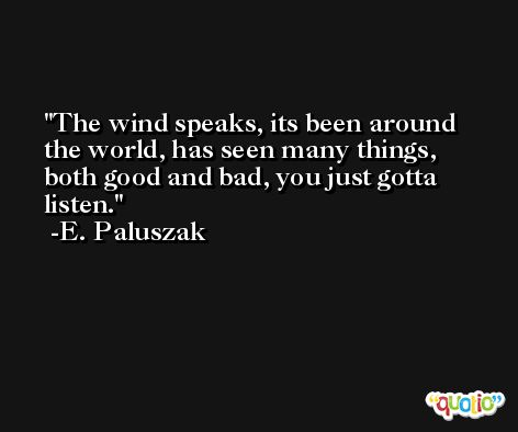 The wind speaks, its been around the world, has seen many things, both good and bad, you just gotta listen. -E. Paluszak