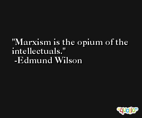Marxism is the opium of the intellectuals. -Edmund Wilson